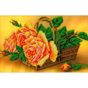 Розы в корзине Набор для частичной вышивки бисером Вышиваем бисером