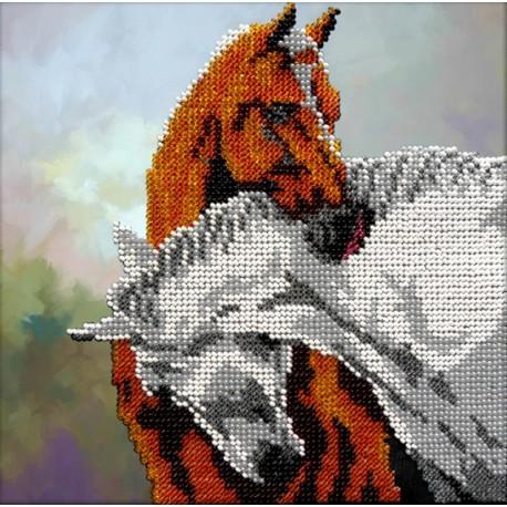 Лошади Набор для частичной вышивки бисером Вышиваем бисером
