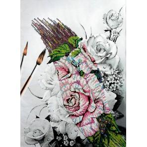 Розы Набор для частичной вышивки бисером Вышиваем бисером