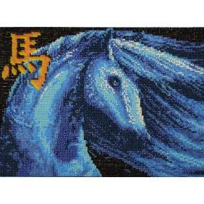 Синяя лошадь Набор для частичной вышивки бисером Вышиваем бисером