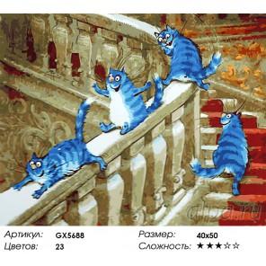 Кошачий паровоз Раскраска картина по номерам акриловыми красками на холсте