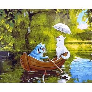 Романтичный синий кот Раскраска картина по номерам акриловыми красками на холсте