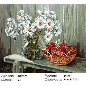 Количество цветов и сложность Клубника и букет ромашек Раскраска картина по номерам акриловыми красками на холсте
