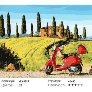 Количество цветов и сложность Скутер в Тоскане Раскраска картина по номерам акриловыми красками на холсте
