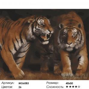 Сложность и количество цветов Дружба тигров Раскраска картина по номерам акриловыми красками на холсте Menglei MG6083
