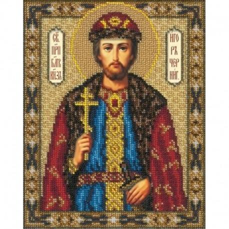 Святой Игорь Набор для частичной вышивки бисером Русская искусница