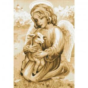 Ангелочек с ягненком Алмазная мозаика вышивка Паутинка