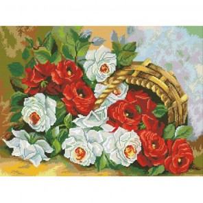 Корзина роз Алмазная мозаика вышивка Паутинка