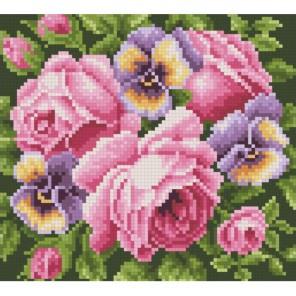 Розы и анютины глазки Алмазная мозаика вышивка Паутинка