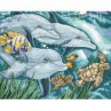 Дельфины Алмазная мозаика вышивка Паутинка