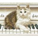 Котёнок на пианино Алмазная мозаика вышивка Паутинка