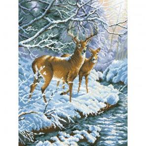 Олени в заснеженном лесу Алмазная мозаика вышивка Паутинка