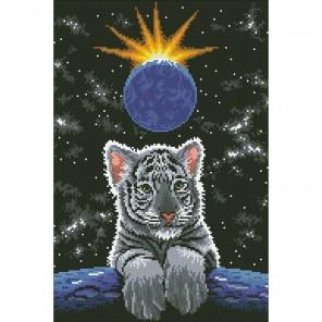 Лунный тигренок Алмазная мозаика вышивка Паутинка