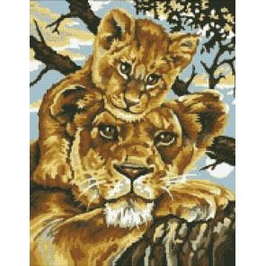 Львица со львенком Алмазная мозаика вышивка Паутинка
