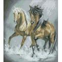 Пара лошадей Алмазная мозаика вышивка Паутинка