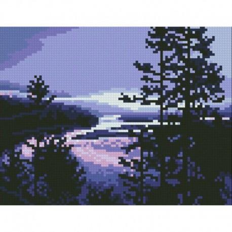 Фиолетовый вечер Алмазная мозаика вышивка Паутинка