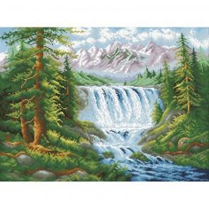 Лесной водопад Алмазная мозаика вышивка Паутинка