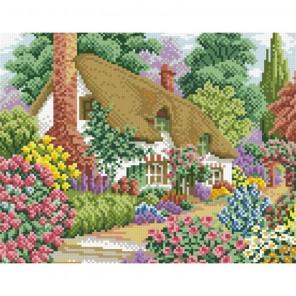 Домик в цветах Алмазная мозаика вышивка Паутинка