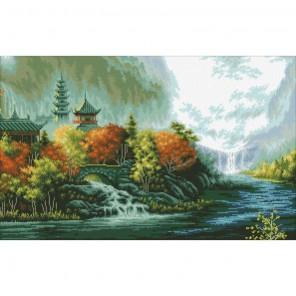 Китайский пейзаж Алмазная мозаика вышивка Паутинка