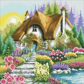 Цветущий уголок Алмазная мозаика вышивка Паутинка
