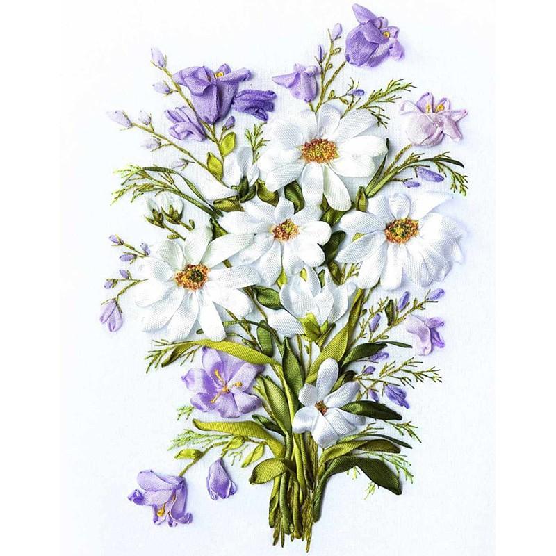 Вышивка лентами в картинках полевые цветы