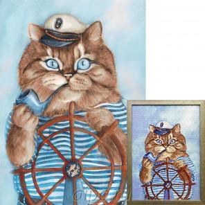 Капитан Алмазная вышивка мозаика Гранни с примером готовой работы в рамке