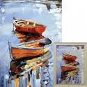 Лодки Алмазная вышивка мозаика Гранни с примером готовой работы в рамке