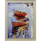 Лодки Алмазная вышивка мозаика Гранни - готовая работа в рамке