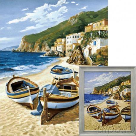 Рыбацкие лодки Алмазная вышивка мозаика Гранни с примером готовой работы в рамке