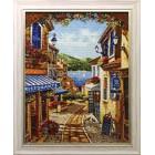 Курортная улочка Алмазная вышивка мозаика Гранни - готовая работа в рамке