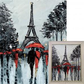 Парижские аллеи Алмазная вышивка мозаика Гранни с примером готовой работы в рамке