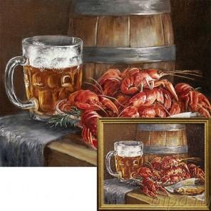 Пиво и раки Алмазная вышивка мозаика Гранни с примером готовой работы в рамке