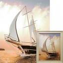Быстрая яхта Алмазная вышивка мозаика Гранни с примером готовой работы в рамке