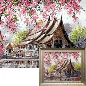 Пагода Алмазная вышивка мозаика Гранни с примером готовой работы в рамке