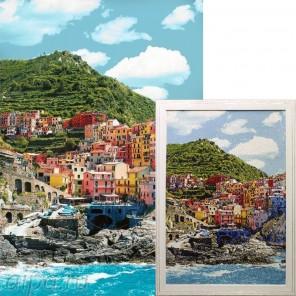 Курортный город Алмазная вышивка мозаика Гранни с примером готовой работы в рамке