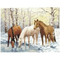 Лошади у реки Набор для вышивания Золотое Руно