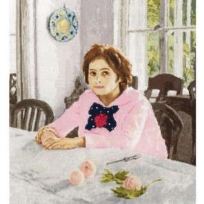 Девочка с персиками Набор для вышивания Золотое Руно