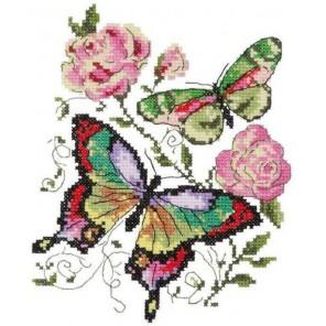 Бабочки и розы Набор для вышивания Чудесная игла