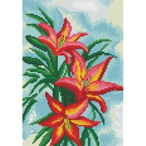 Американская лилия Алмазная вышивка мозаика на подрамнике Белоснежка