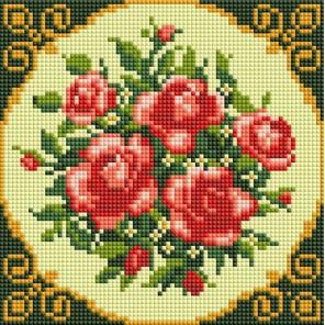 Чайные розы Алмазная вышивка мозаика на подрамнике Белоснежка