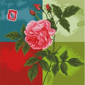 Нежная роза Алмазная мозаика стразами на подрамнике Белоснежка