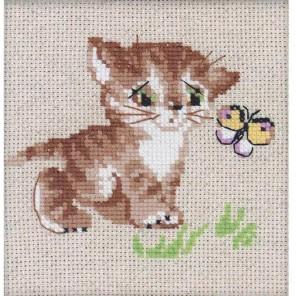 Котёнок с бабочкой Набор для вышивания Риолис
