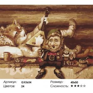 Количество цветов и сложность Кот-балалаечник Раскраска картина по номерам акриловыми красками на холсте
