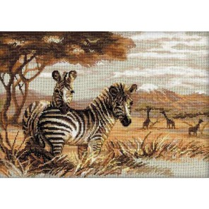 Зебры в саванне Набор для вышивания Риолис