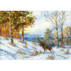 Лось в зимнем лесу по мотивам картины В.Л. Муравьева Набор для вышивания Риолис