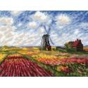 Поле с тюльпанами по мотивам картины К.Моне Набор для вышивания Риолис