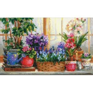 Подоконник с цветами Набор для вышивания Риолис