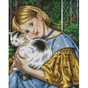 Девочка с кошкой Алмазная мозаика вышивка Painting Diamond
