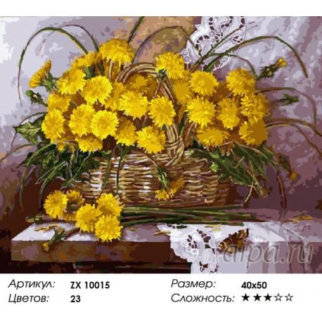 Раскраска по номерам Одуванчики в лукошке картина 40х50 см ...