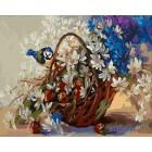 Корзина с ромашками Раскраска картина по номерам акриловыми красками на холсте